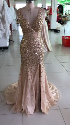 81537ecc6b2 luxury champagne prom dresses mermaid crystal beaded evening gowns Split Prom  Dresses