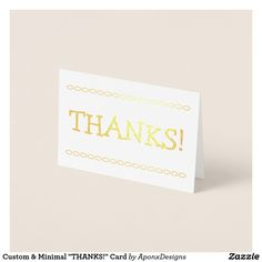 """Shop Custom & Minimal """"THANKS!"""" Card created by AponxDesigns. Paper Envelopes, White Envelopes, Thank You Greeting Cards, Thanks Card, Colored Paper, Minimalism, Thankful, Place Card Holders, Prints"""