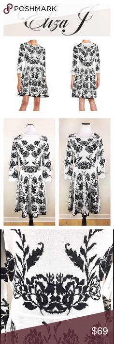 🆕🌹Eliza J. Floral A-line midi dress SZ L Brand new with tags Eliza J. Floral A-line midi dress, black and white (an ivory white) pictures make no justice of this beauty! gorgeous details, stretchy yet form fitting! Perfect for a cocktail party! Size Large. Make an offer, negotiable! Eliza J Dresses Midi