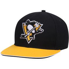 Pittsburgh Penguins Reebok New Jersey Hook 2Tone Snapback Adjustable Hat - Black