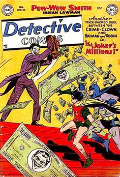 """BAT-HISTORY, FEB 1952: Detective Comics #180 features the famous tale """"The Joker's Millions"""" in which The Joker seemingly inherits the fortune of a deceased rival and retires from crime only to later discover that much of the money is counterfeit and the IRS, plus Batman and Robin of course, are on his tail. The story would later inspire a 1998 episode of the The New Batman Adventures cartoon."""