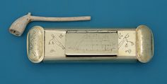 Georgian Brass Tobacco / Pipe Box with Clay Pipe; M. Ford Creech Antiques & Fine Arts, Memphis, TN