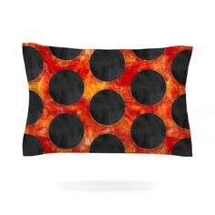 "Zara Martina Mansen ""Volcanic Black Holes"" Red Polkadot Pillow Sham"