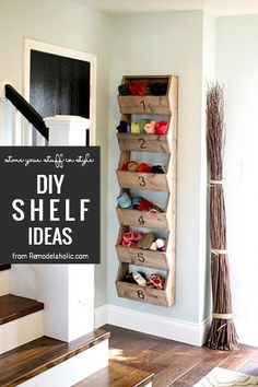 DIY Shelving Ideas From Remodelaholic Wall Storage, Diy Shelving, Garage Storage, Storage Ideas, Timber Furniture, Home Furniture, Shelves In Bedroom, Cottage Interiors, Diy Door