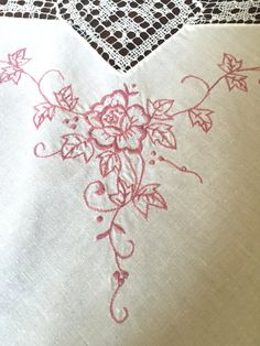 Embroidered Tablecloth Embroidered Table by EmptyingTheAttic