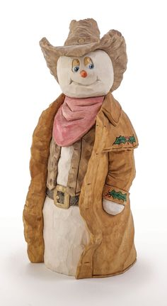 This Western-style snowman was made by Gerald and Barb Sears. Learn more in Woodcarving Illustrated Holiday 2015 (Issue 73) at http://woodcarvingillustrated.com/blog/woodcarving-illustrated-holiday-2015-issue-73/.