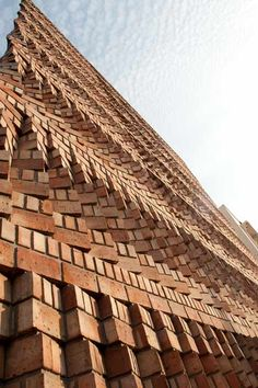 Fascinating Brick Pattern Facade That Will Amaze You - The Architects Diary Brick In The Wall, Brick And Stone, Brick Design, Facade Design, Brick Building, Building Design, Architecture Cool, Ancient Architecture, Sustainable Architecture