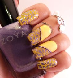 "Some purple and yellow ... colors are Zoya ""Hudson"" and Pure Ice ""Show Stopper"". Plate is @myonline Shop Jr 37 stamped with Mundo de Uñas ""Yellow"" #shopmyonline #nailart #stampingnailart ##stamping #nailart  #mani  #uñas #diseñodeuñas #uñasestampadas"
