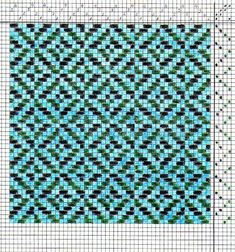 This is a colour drawdown of a relatively simple weave structure: broken twill on four shafts, woven as drawn in. The warp is all light blue; the weft is alternating pairs of dark green and black. My design. Loom Weaving, Tapestry Weaving, Hand Weaving, Weaving Projects, Knitting Projects, Tear, Weaving Patterns, Textile Art, Fiber Art