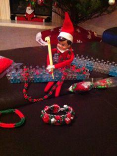 """Elf on a Shelf is """"hooked"""" on Rainbow Loom, too!"""