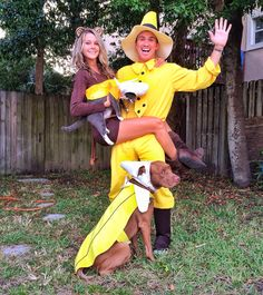 Curious George, the man in the yellow hat and Bananas. Couple costume  family costume  dog costume  cat costume  Halloween costume