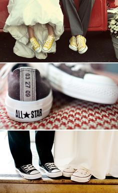 My daughter's husband wore grey converses with bright blue shoe strings to match her necklace! Groomsmen wore black and white converses with black suits!
