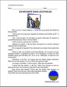 French: En s�curit� sous les �toiles - Pat wants to look at the stars. Pat veut regarder les �toiles.