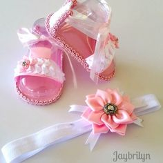 Beautiful Baby Girl's Sandals and Headband, Pink and White Sandals with Matching Headband, Newborn Baby Girl Set of Sandals and Headband by Jaybrilyn on Etsy Baby Boy Booties, Baby Boy Bibs, Baby Girl Sandals, Baby Boy Shoes, Girls Sandals, Beautiful Baby Girl, Newborn Headbands, Doll Clothes Patterns, Sewing Patterns