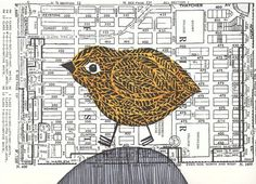 Bird LinoCut Print on Vintage Chicago Map City by laurawennstrom, $20.00