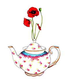 Teapot and Poppies