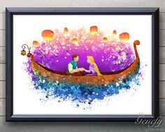 Disney Rapunzel Tangled Lantern Scene Watercolor Poster Print - Watercolor Painting - Watercolor Art - Kids Decor- Nursery Decor