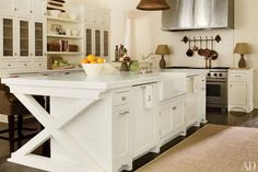 """Beautiful white kitchen---love the """"X"""" at end of cabinet!!"""