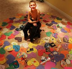 """Chris Jones' cherished 10-yr old sweet son Mitchell, who had Dechenne Muscular Dystrophy, died. Chris just wrote this beautiful, powerful note, he called """"The Path to Joy"""": """"About a week before Mitchell was admitted to the hospital, a package was delivered containing ~120 hand-written messages on paper hearts from concerned friends and neighbors #Hearts #EveryoneMatters #Note #ThePathToJoy #Child #Children"""