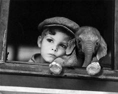baby boy + baby elephant