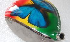 Papillon morpho (avec peinture à effet pailletée)sur fond de couleurs de la Guyane. Réalisé pour Aurélien Paré, un jeune golfeur plein de talent et haut en couleurs.Réalisation en partenariat avec VR Clubmaker.