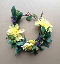 Flower Crown Boho Wedding Yellow Woodland Floral by jewelfeathers