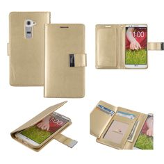 <h3>LG G2 Wallet Case Dual Pocket Champagne Gold</h3> <ul> <li>Includes 5 card slots for ID, transport, and credit cards.</li> <li>Inner pocket for bills and receipts.</li> </ul>