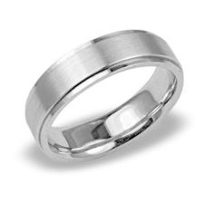 White Gold Mens Wedding Bands with Polished Edge and Satin Center. This design is manufactured in comfort fit and available in most finger sizes and widths. We can also manufacture this design in Yell