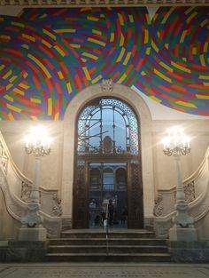 """The entrance to the Wadsworth Atheneum's Morgan Great Hall with part of Sol LeWitt's """"Wall Drawing Whirls and Twirls (Wadsworth)"""" Classical Interior Design, Hudson River School, Wall Drawing, America And Canada, Mural Ideas, Museum Collection, Connecticut, Wall Collage, American Art"""