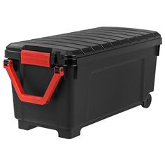 Get organized with the IRIS Store-It-All Rolling Storage Tote. With its red reinforced pull handle and wheels, you can easily transport tools, outdoor gear, sporting equipment, and gardening supplies. The tote can be secured with pad lock or zip tie.