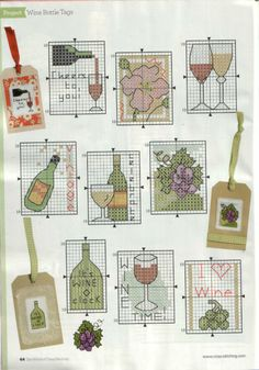 Wine motifs part 1 free cross stitch patterns