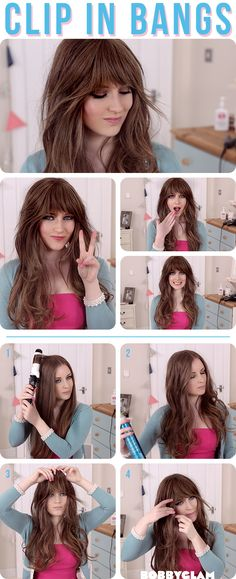 clip in bangs- Zooey Deschanel Hair Tutorial