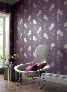 Alium Purple Wallpaper By Graham And Brown Dark Purple Bedrooms, Purple  Walls, Purple Haze