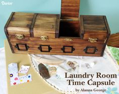 Great way to preserve memories using trinkets from your kids pockets using a Laundry Room Time Capsule.