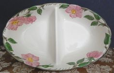 Franciscan Oval Divided Bowl Desert Rose USA Cream, 1953 - 1958 #Franciscan