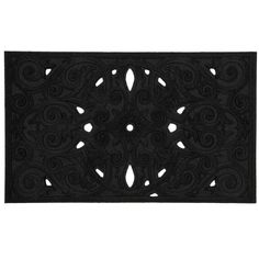 Floral Scroll Black Floral Scroll 18-Inch by 30-Inch Doormat by Townhouse Rugs. $16.99. Clean with vacuum or shake out occasionally rinse with garden hose air dry. Printed recycled rubber mat. Durable. Machine made doormat. Recycled rubber backing. The black scroll work of this mat is simple and sophisticated. Add drama to your entry way with this stunning doormat. Crafted from recycled rubber this mat is an addition to any entryway. Our recycled rubber doorma...