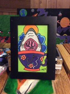 Great white shark cup, little frame filler made with posca paint markers and acyrlic paint