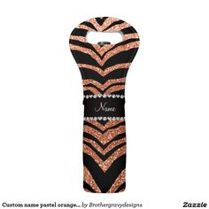 Custom name pastel orange glitter tiger stripes wine bag