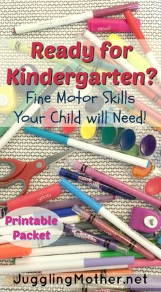 Ready for Kindergarten? Fine Motor skills your child will need.  This post has some great information and skills to work on in your special education classroom.  Plus a free printable list for easy reference.  Go to:  http://www.jugglingmother.net/ready-kindergarten-fine-motor-skills-child-will-need/
