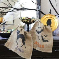 Make this adorable burlap trick or treat sack for under $5!  It is so easy and a free cut file is included for the stencil!