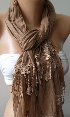 Caramel  and Elegance Shawl / Scarf by womann on Etsy, $19.90