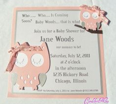 I made these owl invitations with my cricut machine bow is made out owl baby invitation made with create a critter solutioingenieria