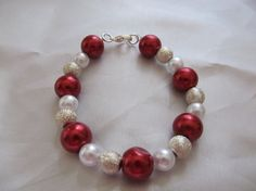 Dazzling Red Pearl bracelet by RandomWishes32 on Etsy