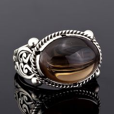 Sterling+Silver+Unique+Handmade+Ring+for+Men+with+Smoky+Quartz
