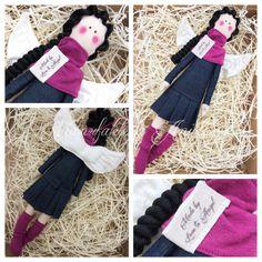 Manufaktura Aniołów (fb) / denim angel / denim tilda doll / sweet angels / sewing machine doll