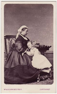 Queen Victoria and grandaughter, pss Victoria of hesse and by rhine, eldest daughter of Pss Alice and Ernst Ludwig of Hesse.  Victoria is grandmother of Prince Phillip, duke of Edinburgh.