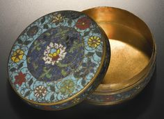 A cloisonné enamel 'lotus' box and cover, Ming dynasty, 16th century