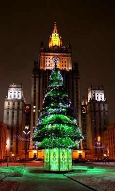 Christmas Tree.. Moscow, Russia. This tree doesn't just represent Christmas. It represents Christmas coming again because Christmas was cancelled after the 1917 Revolution. It came back 75 years later in 1992.