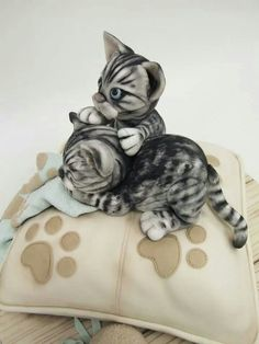 Edible Art, Cats on a Pillow Cake. ★ More on - Get Ozzi Cat Magazine here… Crazy Cakes, Fancy Cakes, Cute Cakes, Dog Cakes, Cupcake Cakes, Mini Tortillas, Bolo Paris, Kitten Cake, Pillow Cakes