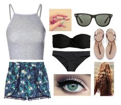 """Beach Day!"" by haleigh929 ❤ liked on Polyvore featuring Glamorous, H&M, Zara, J.Crew and Ray-Ban"